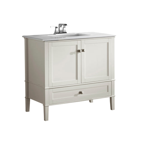 Chelsea 36 inch Bath Vanity in Soft White  with White Engineered Quartz Marble Top