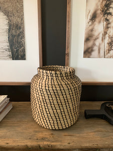 Hand Woven Black & Natural Seagrass Basket