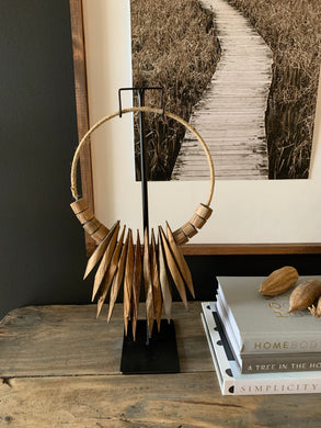 Wood Art On A Metal Stand