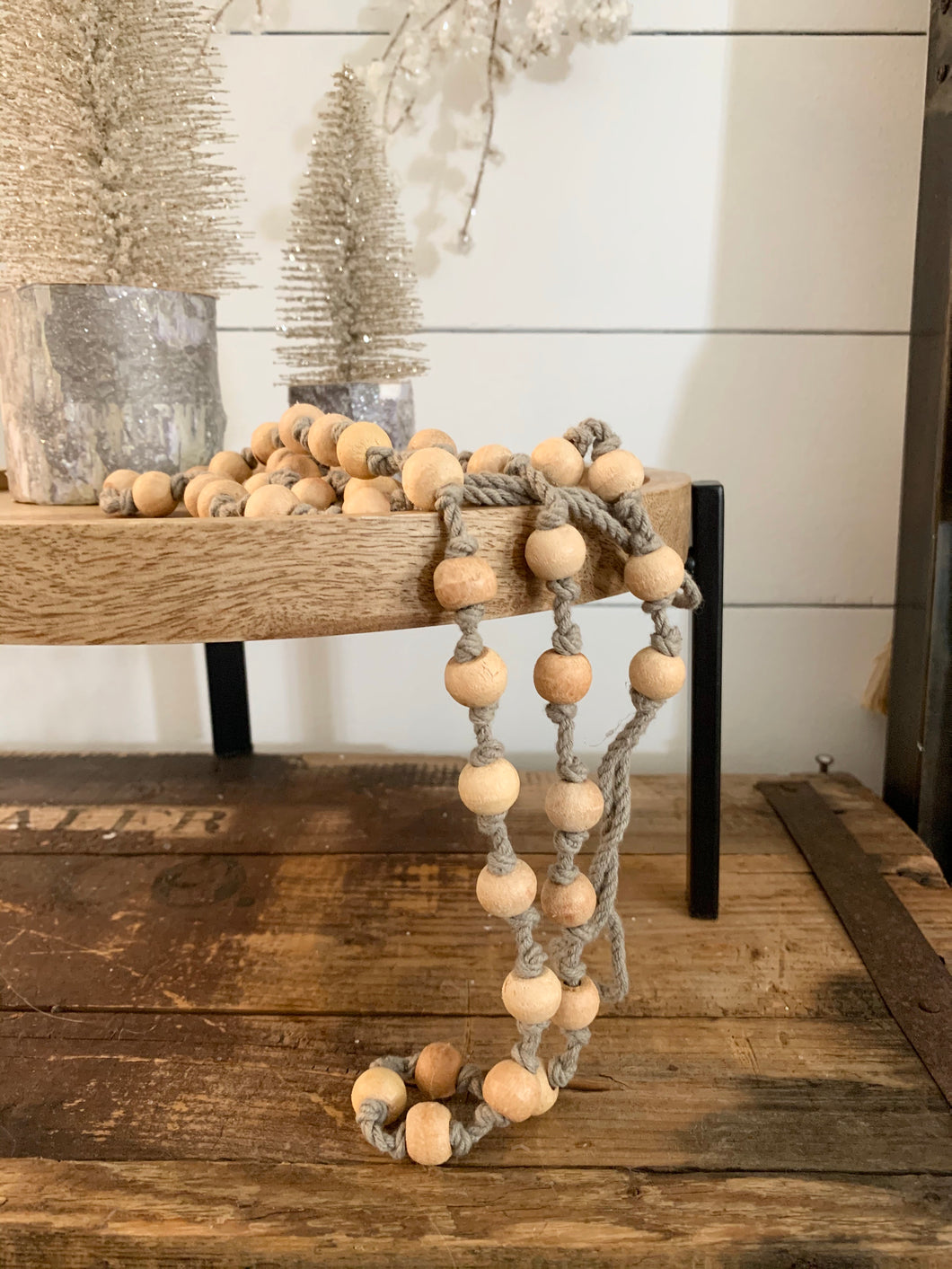 Cotton & Wood Beaded Garland-Gray