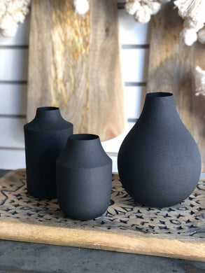 Set Of Three Matte Black Vases