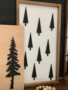 Nordic Christmas Trees Wood Sign