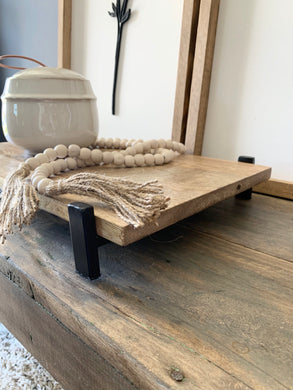 Raised Wood & Metal Tray