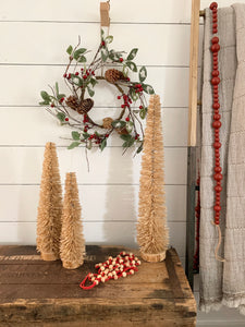 Cotton & Wood Beaded Garland-Red