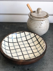 Wood Bowl W/Plaid Pattern