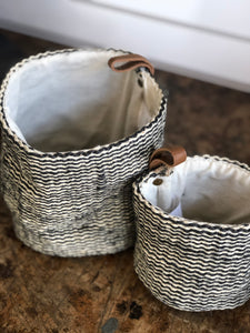 Set Of Jute Striped Baskets