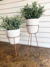 Load image into Gallery viewer, White Pots W/Copper Stands