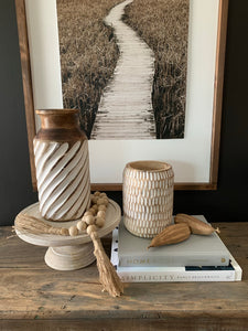 Carved Wood Vase-Small