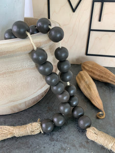 Wood Bead Garland In Natural Or Charcoal