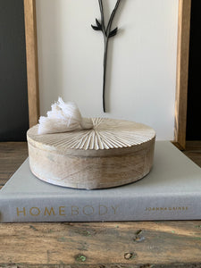 Whitewashed Round Wood Box W/Tassel