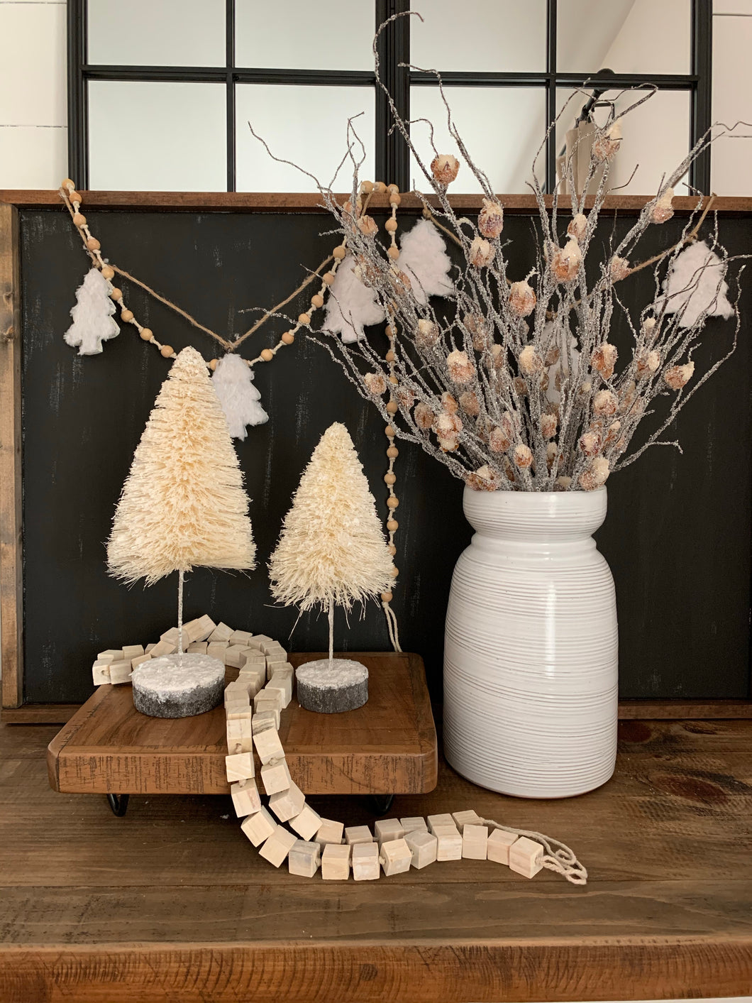 Cotton & Wood Beaded Garland-Natural