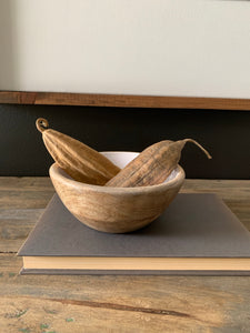 Mango Wood Bowls W/White Enamel-Small
