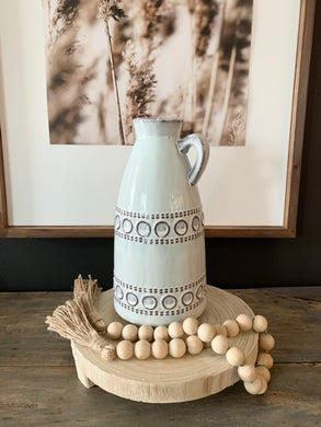 White Boho Pitcher