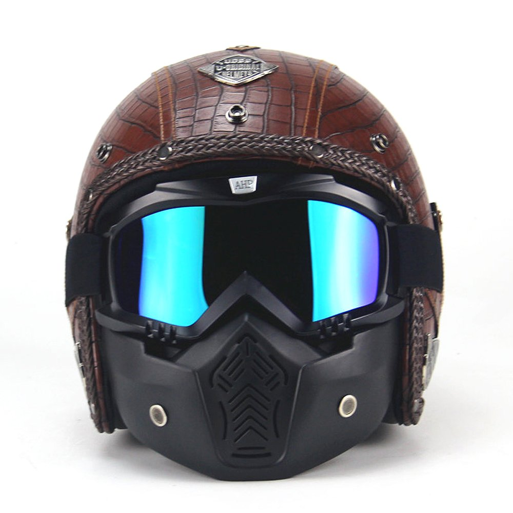 3/4  Motorcycle Helmet made of synthetic Leather D.O.T Certified