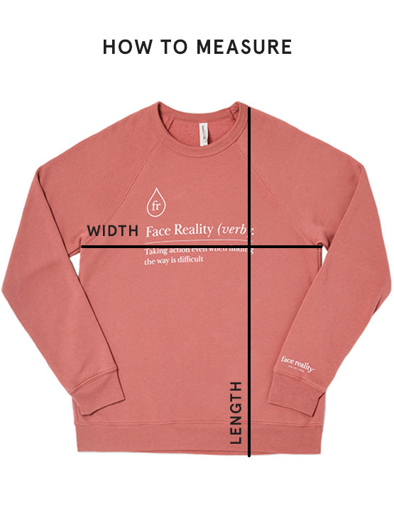 Image Showing Height sweatshirt height and Width locations for Measurements. Width is chest area and length is shoulder to end of shirt