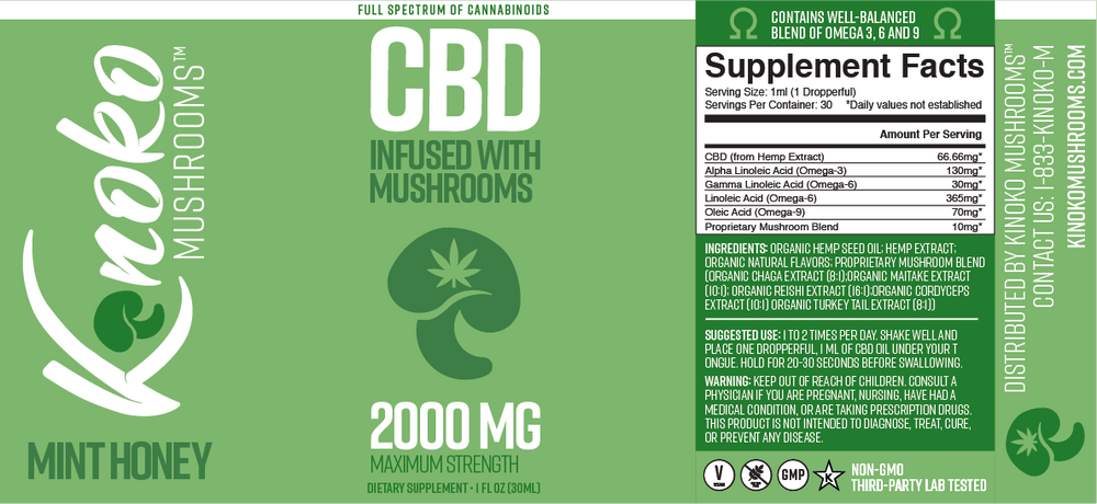 2000MG Full Spectrum CBD Oil - Maximum Strength - Infused with Mushroom Extract