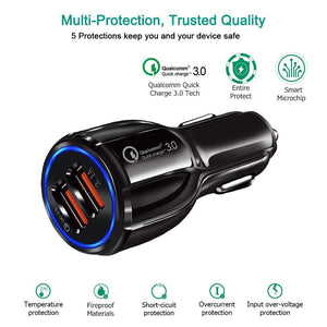 Qualcomm Quick Charge 3.0 Chargeur de Voiture Allume Cigare 2-Port USB [4X PLUS RAPIDE]-OUI Deals