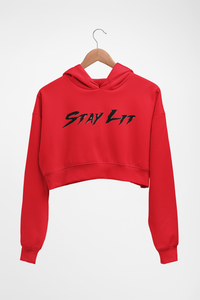 Stay Lit Crop Top Hoodie (Reflective Print)