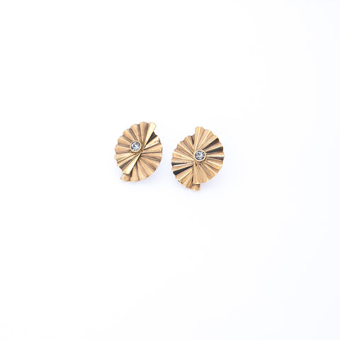 Pleated Gold Earrings