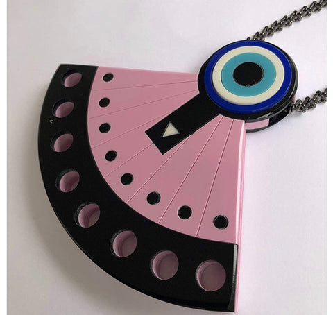 PINK FAN NECKLACE