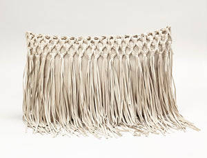 LEATHER FRINGE THROW PILLOW