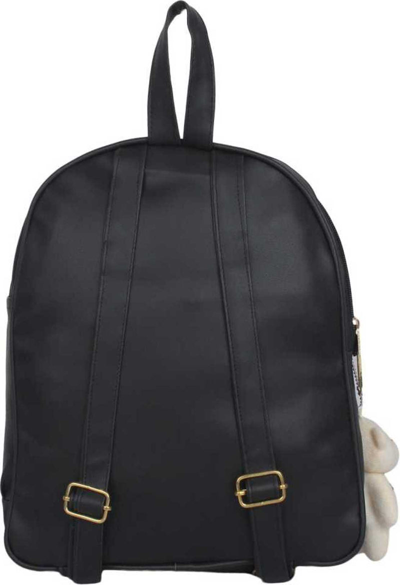 PU Leather Girls College Bag in School Bag 4 L Backpack (Black) 4 L Backpack