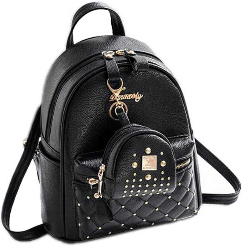 TFF Fashion Girls Bowknot 2-PCS Fashion Backpack Cute Mini Leather Backpack Purse for Women Black