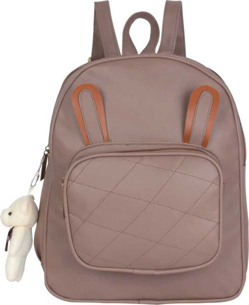 PU Leather Girls College Bag in School Bag 4 L Backpack (Purple) 4 L Backpack