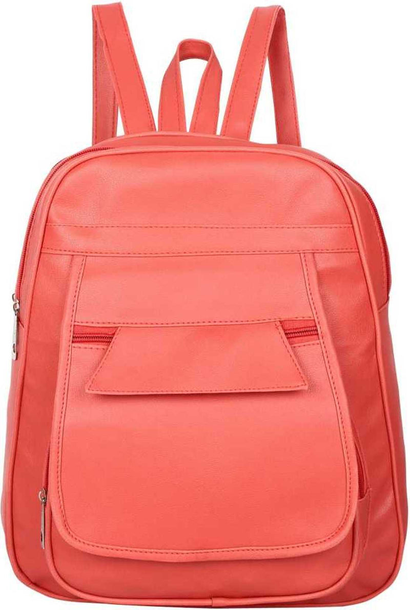 PU Leather Girls College Bag in School Bag 4 L Backpack (Peach) 4 L Backpack