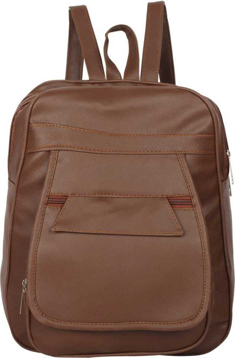 PU Leather Girls College Bag in School Bag 4 L Backpack (Brown) 4 L Backpack
