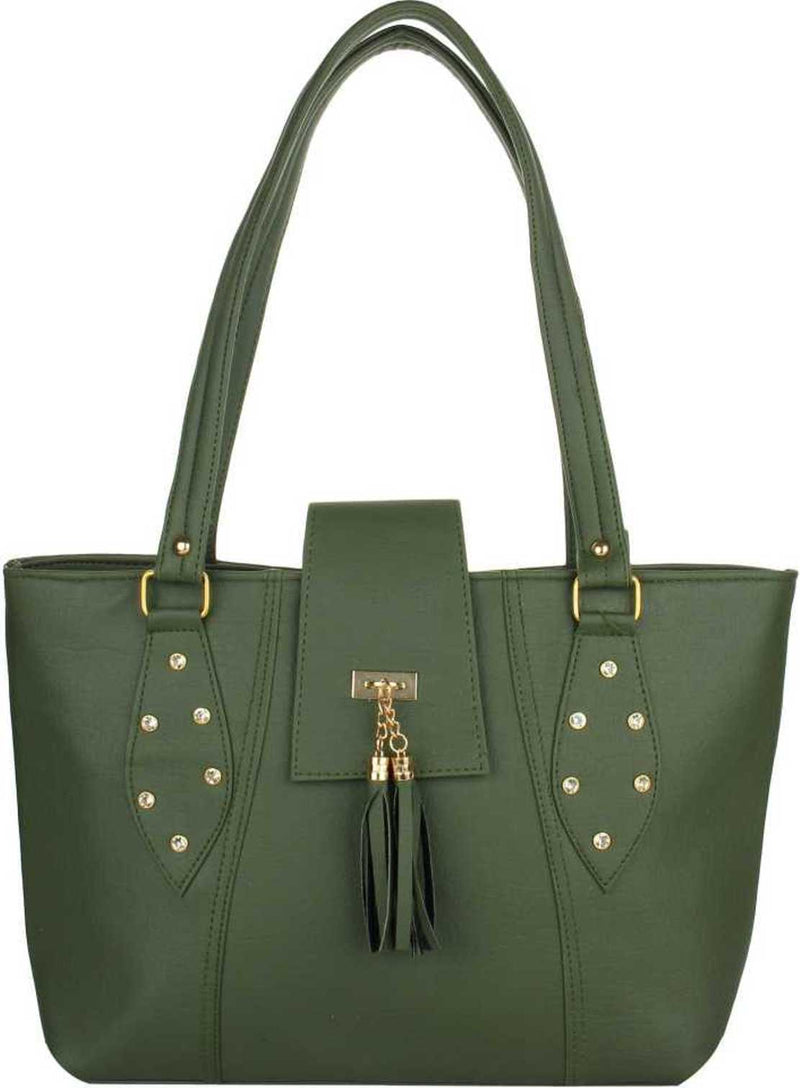 Leatherette PU Handbag for Women and Girls College Office Bag, Stylish latest Designer Spacious Shoulder Bag Purse, Gift for Her (Green)