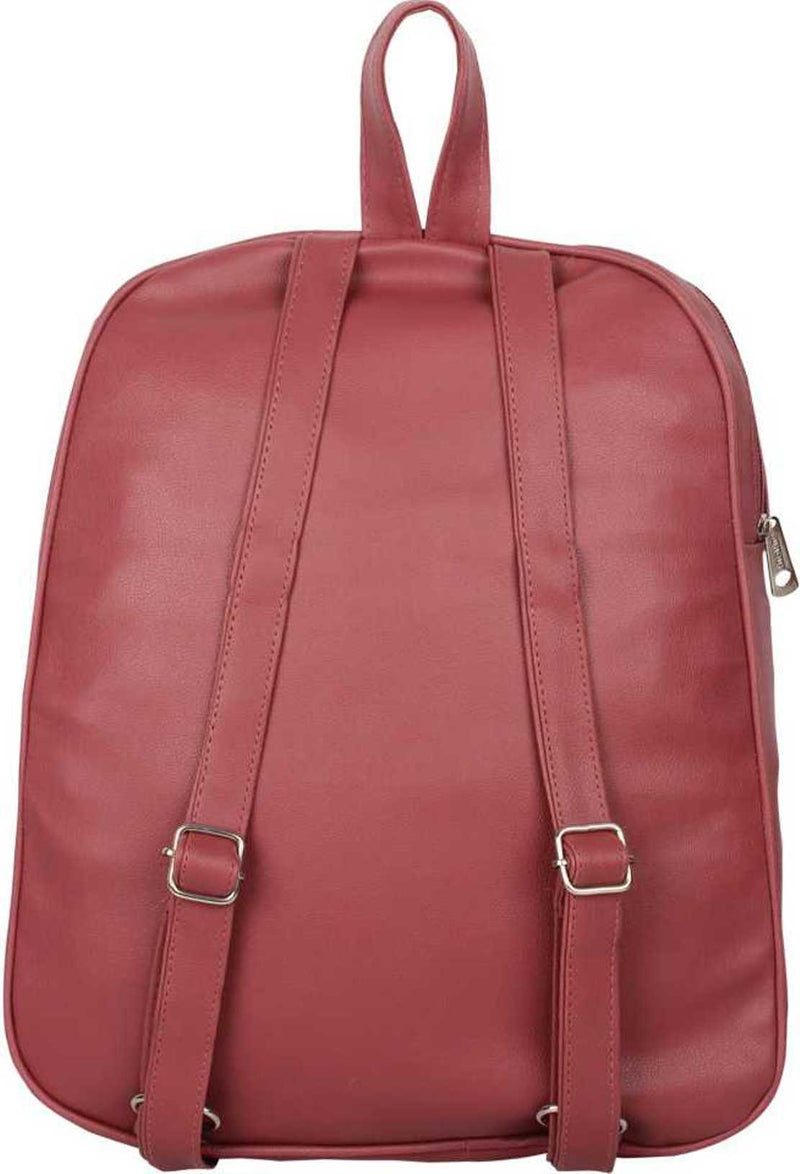 PU Leather Girls College Bag in School Bag 4 L Backpack (Maroon) 4 L Backpack