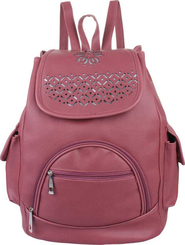 Design PU Leather Girls College Bag in School Bag 4 L Backpack (Maroon)