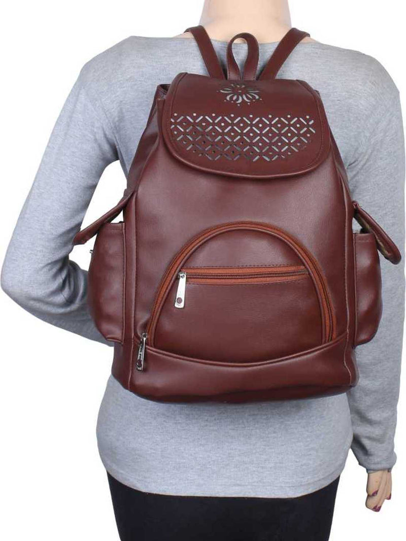 Design PU Leather Girls College Bag in School Bag 4 L Backpack (Brown)
