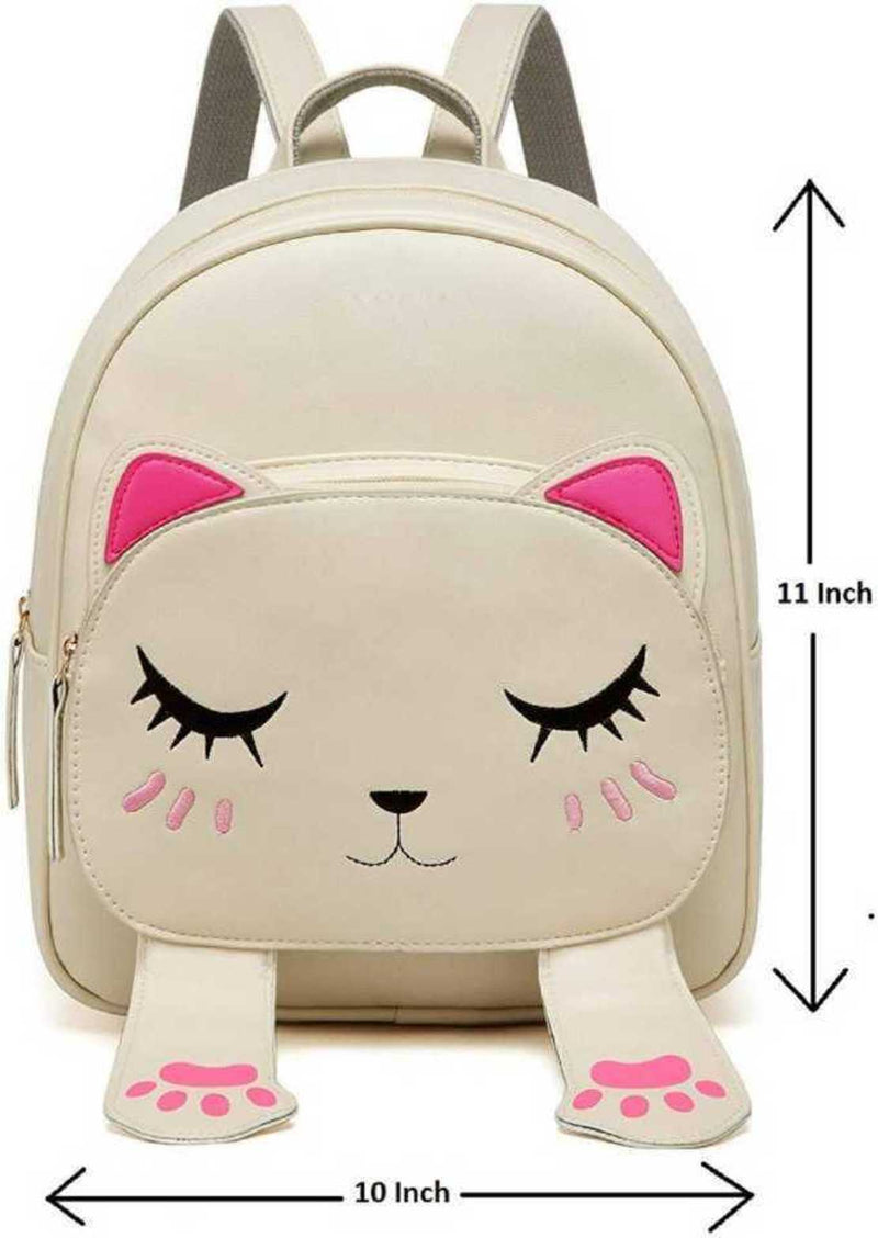 Smiley Mini PU Leather Backpack Fashion Small Daypacks Purse for Girls and Women Waterproof Backpack Cream 5 L