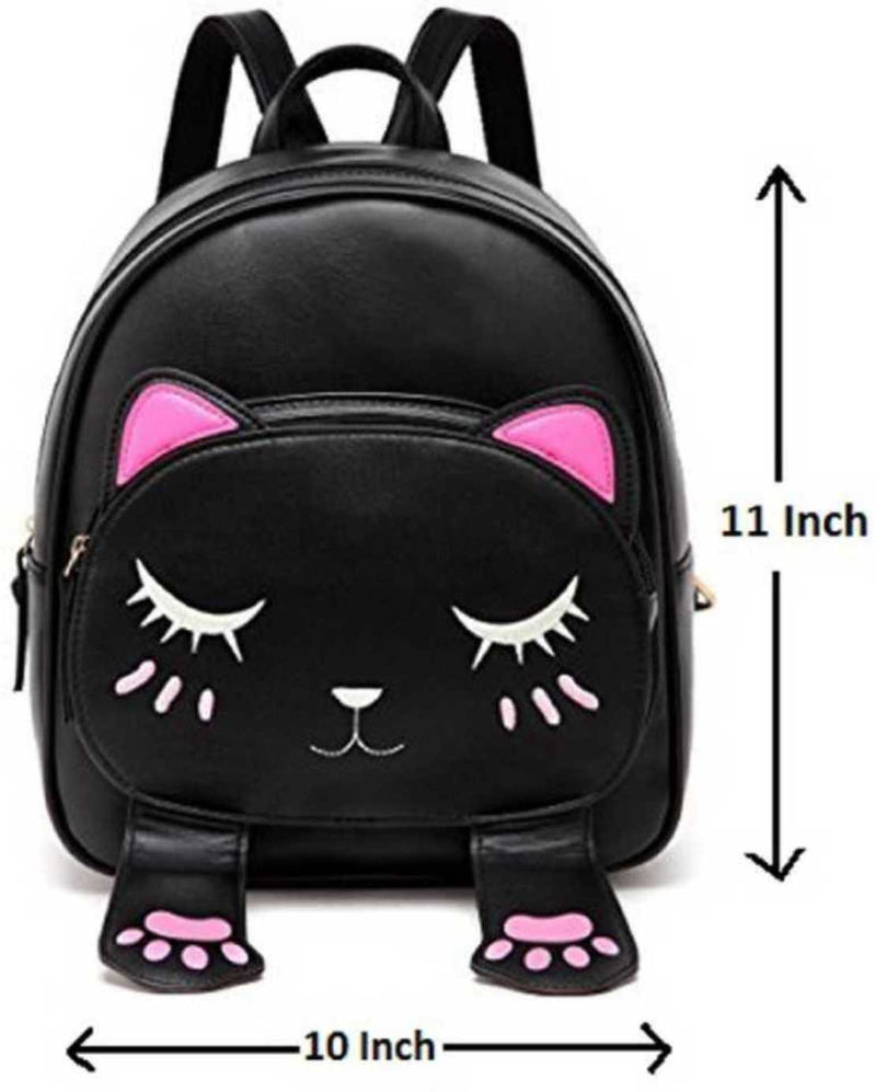 Smiley Mini PU Leather Backpack Fashion Small Daypacks Purse for Girls and Women Waterproof Backpack Black 5 L