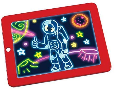 Magic Sketch Drawing Pad | Light Up LED Glow Board | Draw, Sketch, Create, Doodle, Art, Write, Learning Tablet | Includes 3 Dual Side Markets, 30 Stencils and 8 Colorful Effects for Kids