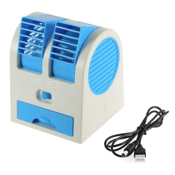 Portable Small Plastic Air Conditioner Water Cooler Mini Fan and Dual Bladeless for Use in Car/Home/Office (Multicolour)
