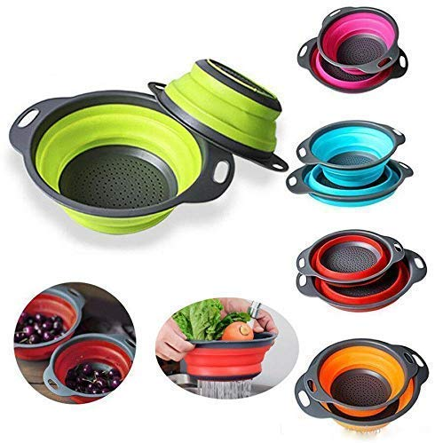 "BPA-Free, Dishwasher-Safe Collapsible Colanders Strainers Silicone Folding Kitchen Vegetable Basket Set with Base and Handle (Multicolour, 11.5"" and 9.7"" Size) -2-Pack"