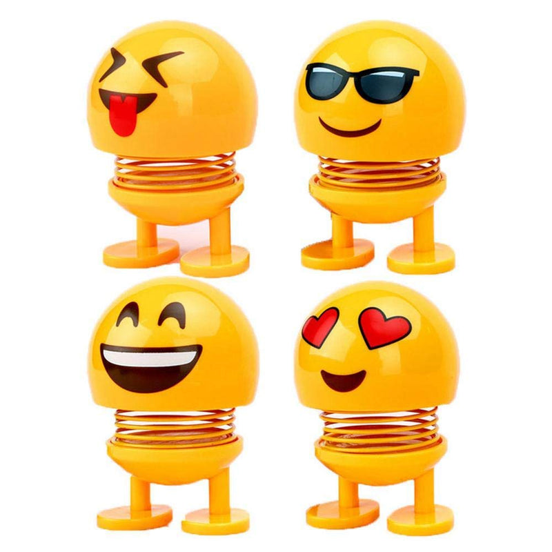 Smiley Shaking Spring Doll, Cute Emoji Head Dolls, Emoticon Funny Smiley Face Springs Car Decoration for Car Interior Dashboard Expression Toys (Pack of 4-Assorted) - the factory forum