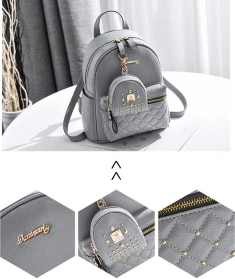 TFF Fashion Girls Bowknot 2-PCS Fashion Backpack Cute Mini Leather Backpack Purse for Women Grey