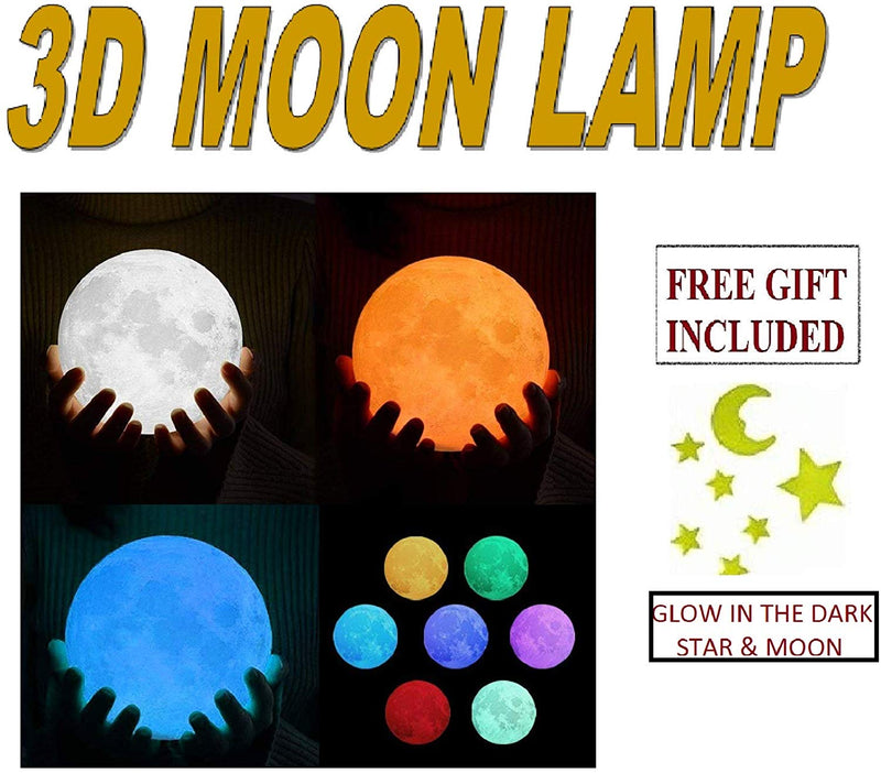Moon lamp 3D print night light Decoration lamps 3 color 16 Colors Rechargeable Remote LED moon light Birthday gift - the factory forum