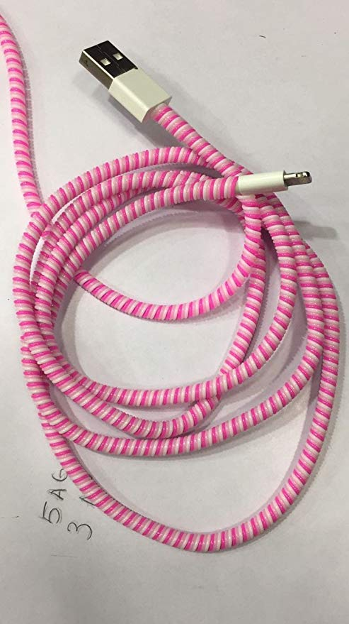 Set of 3 Solid Color TPU Spiral USB Charger Cable Cord Protector, Length 1.5mtr(Approx) - the factory forum