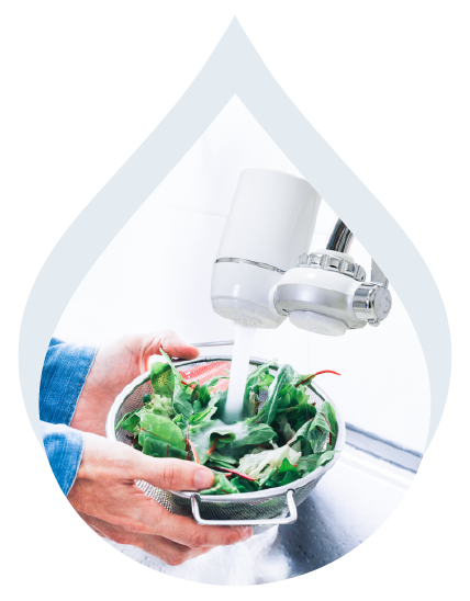 A person using a water faucet filter to wash greens