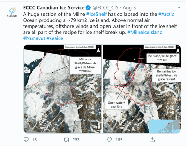 Global Warming Forces the Early Collapse of Last Full Ice Shelf