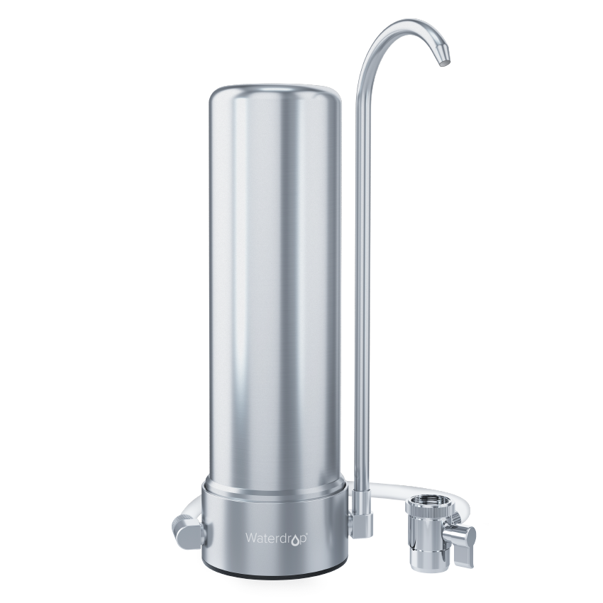 Waterdrop WD-CTF-01 Countertop Filter System, 5-Stage Stainless Steel Countertop Filter, 8000 Gallons Faucet Water Filter, Reduces Heavy Metals, Bad Taste and Up to 99% of Chlorine (1 Filter Included)