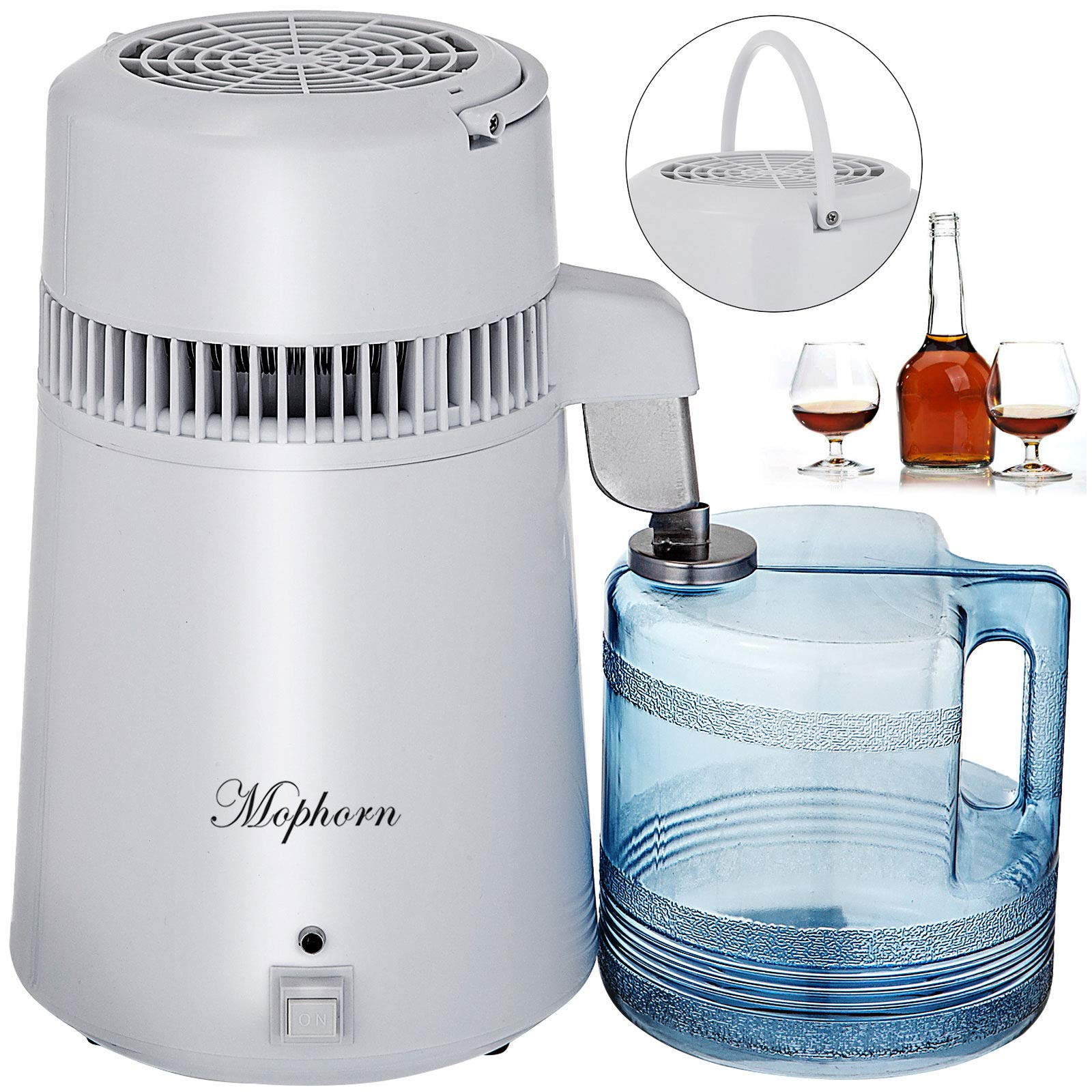 Mophorn Pure Water Distiller 750W, Purifier Filter Fully Upgraded with Handle 1.1 Gal /4L, BPA Free Container, Perfect for Home Use, White