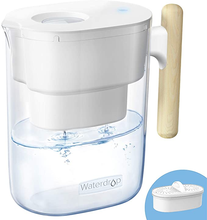200-Gallon Long-Lasting Chubby 10-Cup Water Filter Pitcher with 1 Filter, NSF Certified, 5X Times Lifetime, Reduces Lead, Fluoride, Chlorine and More, BPA Free, White, by Waterdrop