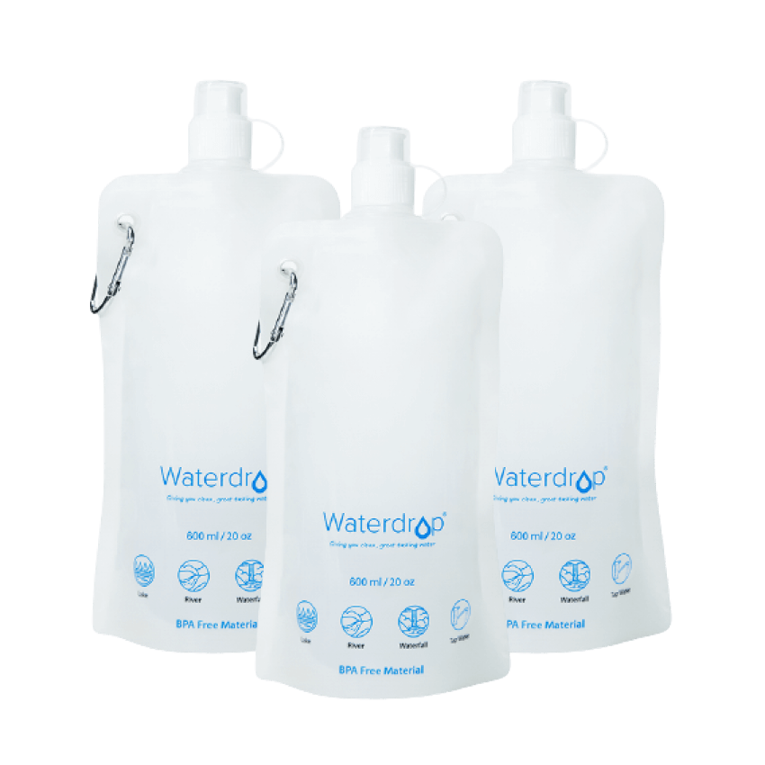 Waterdrop Collapsible Water Pouch pack of 3 (4760787943506)