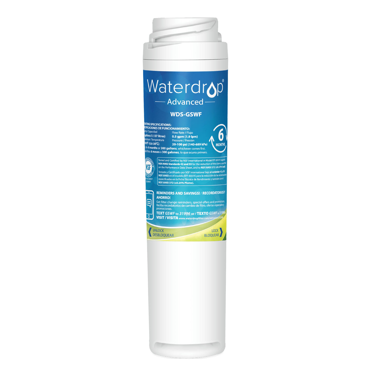 Waterdrop Replacement for GE PS1559689 Refrigerator Water Filter